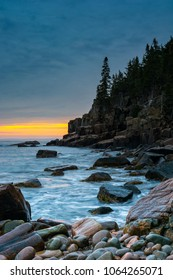 Sunrise on the rocky shore of Acadia National Park, Maine