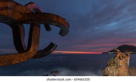 """Sunrise on  San Sebastian, """"Peine del Viento"""""""