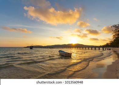 Sunrise on Scream Bay Koh Rong Samloem, Saracen Bay, tropical paradise island with white beach and pier