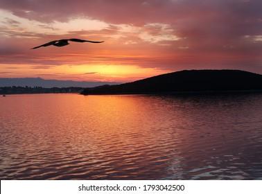 Sunrise on the sea of the island of Dugi Otok in Crotia