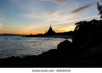 Sunrise on the sea at silhouette Sanctaury of Truth background