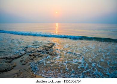 Sunrise on the stone beach