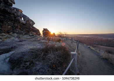 Sunrise on the stone massif devils wall in the Harz mountains
