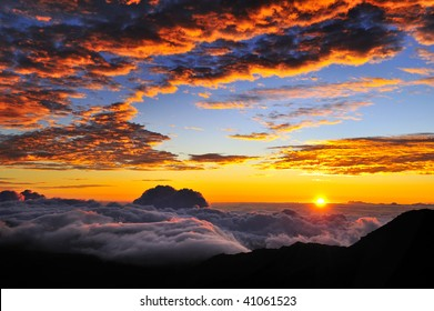 Sunrise on the summit of Haleakala on the Hawaiian Island of Maui