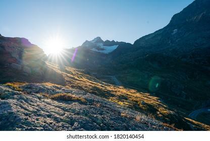 Sunrise on Sustenpass with Steingletcher and Steinsee, Switzerland, Europa. Sustenpass is a mountain pass in the Swiss Alps. Stein Glacier in Swiss alps in summer. Alpine Glow - Shutterstock ID 1820140454