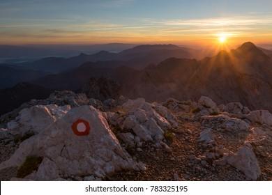 Sunrise on the top of mount Grintovec. Grintovec is the highest peak of Kamnik-Savinja Alps in Slovenia.