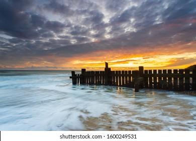 Sunrise on Trimingham Beach in North Norfolk, UK