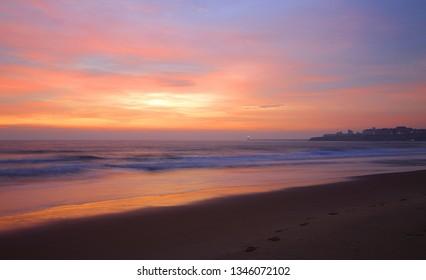 Sunrise on Tynemouth Longsands beach