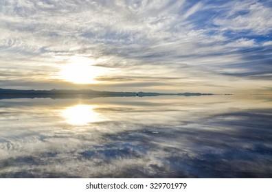 Sunrise on the Uyuni Solar in Bolivia - Shutterstock ID 329701979