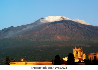 Sunrise on volcano Etna viewed from Taormina, Sicily