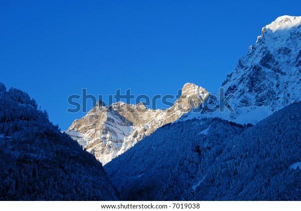 Sunrise on the white mountain top