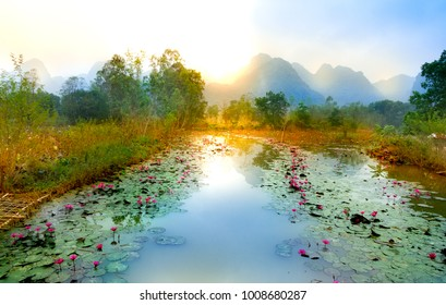 Sunrise on the Yen stream in Hanoi, Vietnam
