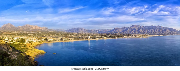 Sunrise over Altea bay, Costa Blanca. Spain, Alicante. Panoramic view