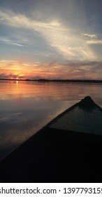 Sunrise over the Amazon River in the Amazon rainforest, Brazil.