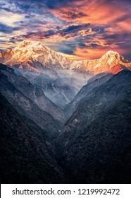 Sunrise over Annapurna range in Nepal himalayan