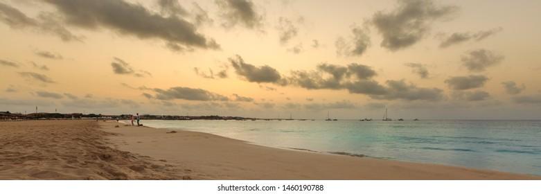 Sunrise over atlantic ocean and beach on Sal island, Cabo Verde, Cape Verde, panorama