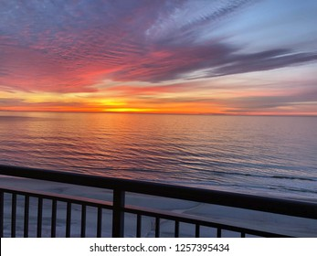 Sunrise over the Atlantic Ocean as viewed from a Oceanfront Balcony.
