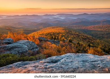 Sunrise over autumn landscape, North Carolina