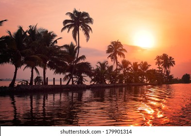 Sunrise over the backwaters in Kerala, India