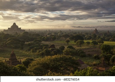 Sunrise over Bagan Archeological Region in Bagan, Myanmar