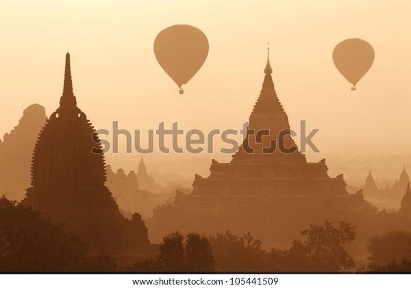 Sunrise over the Bagan pagodas in Myanmar