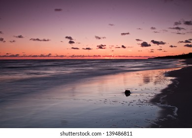 Sunrise over the Baltic sea. Chalupy beach.Poland. Long exposure photograph