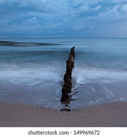 Sunrise over the Baltic sea. Chalupy beach.Poland. Long exposure photograph.