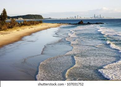Sunrise over beach, Currumbin beach, Gold Coast, Australia