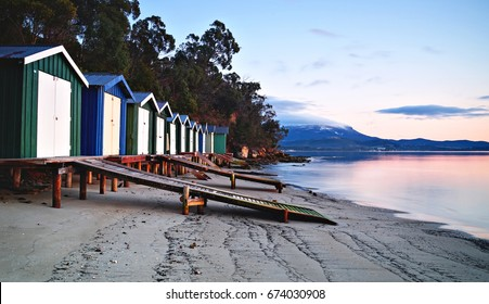 Sunrise over beach huts in Hobart, Tasmania