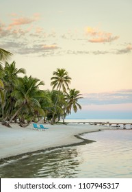 Sunrise over a beach on Ambergris Caye in Belize