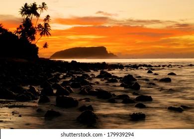 Sunrise Over Beach Paradise in Samoa