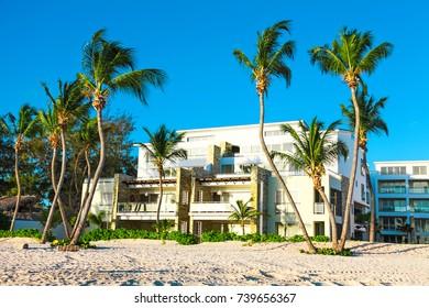 Sunrise over beach in Punta Cana, beautiful ocean view and amazing apartaments in Dominican Republic