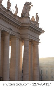 sunrise over Bernini's colonnade in St. Peter's Square, Vatican City, Rome, Italy