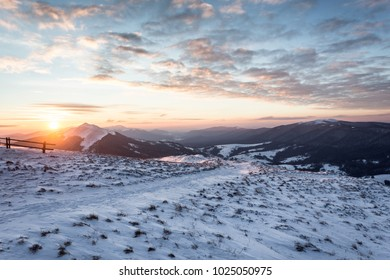 Sunrise over Bieszczady Moutains