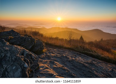 Sunrise over the Blue Ridge Mountains from Black Balsam Bald