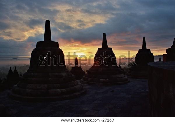 Sunrise over Borobudur Temple on Java Island, Indonesia