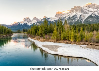 Sunrise over the Bow river and Rockies, Canmore, CanadaSun rise over the Bow river and Rockies, Canmore, CanadaSun rise over the Bow river and Rockies, Canmore, Canada
