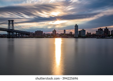 Sunrise over Brooklyn and the East River, seen from Manhattan