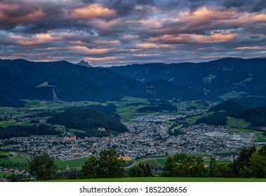 Sunrise over Brunico and the Val Pusteria