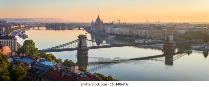 Sunrise over Budapest skyline, Hungary