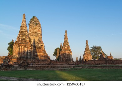 Sunrise over Buddhist temple Wat Chaiwatthanaram in Ayuthaya - a UNESCO World Heritage Site, the ancient capital of the Kingdom of Siam, now Thailand.