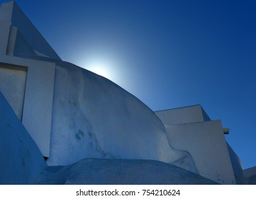 Sunrise over building in Santorini