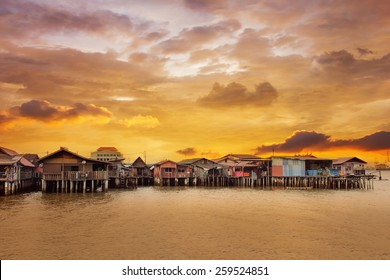 Sunrise Over Chew Jetty in Penang Malaysia