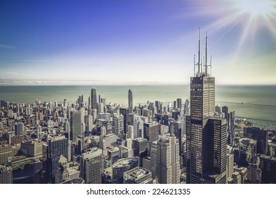 Sunrise over Chicago financial district- aerial view
