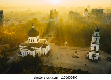 Sunrise over Chisinau, Republic of Moldova. Chisinau Metropolitan Cathedral in Central Park