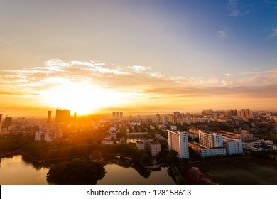 sunrise over city of Fuzhou Jiangxi Province, China