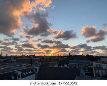 Sunrise over the city of The Hague