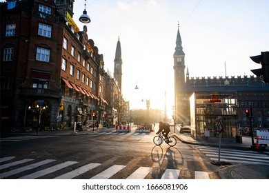 Sunrise over City Hall Square in Copenhagen, Denmark. February 2020