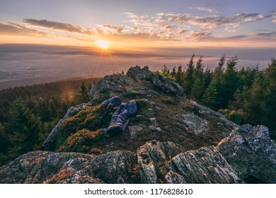Sunrise over the city of Liberec, Czech republic. View from the top os Jested Mountain. Jizerske mountains and Liberec.