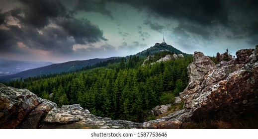 Sunrise over the city of Liberec, Czech republic. Jested. View from the Virive stones Jested Mountain. Jizerske mountains and Liberec. - Shutterstock ID 1587753646
